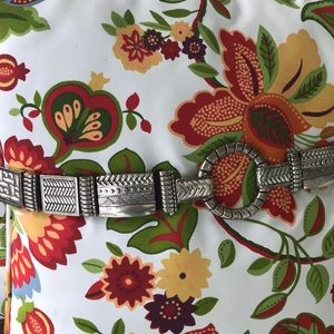 Chico's black leather & metal belt